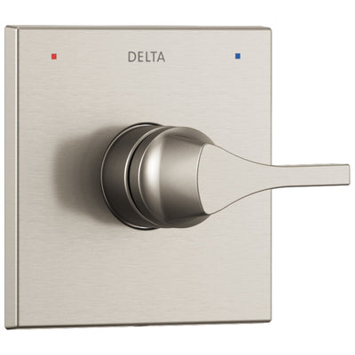 Delta Zura Collection Stainless Steel Finish Monitor 14 Single Handle Square Shower Faucet Control Handle Includes Rough-in Valve without Stops D2038V