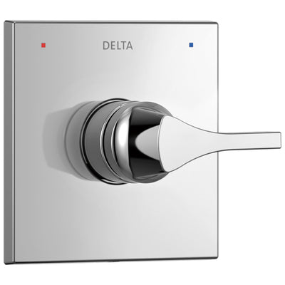 Delta Zura Collection Chrome Finish Monitor 14 Series Single Handle Square Shower Faucet Control Handle Includes Rough-in Valve with Stops D2043V