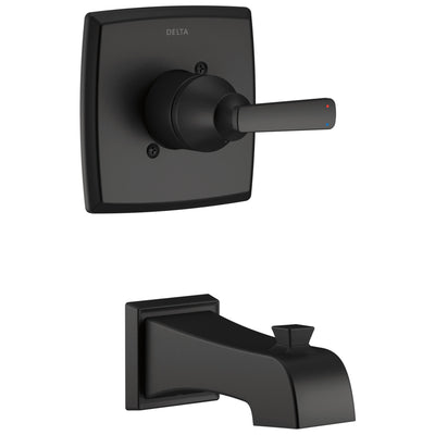 Delta Ashlyn Matte Black Finish Monitor 14 Series Wall Mount Tub only Faucet Includes Single Handle, Cartridge, and Valve without Stops D3523V