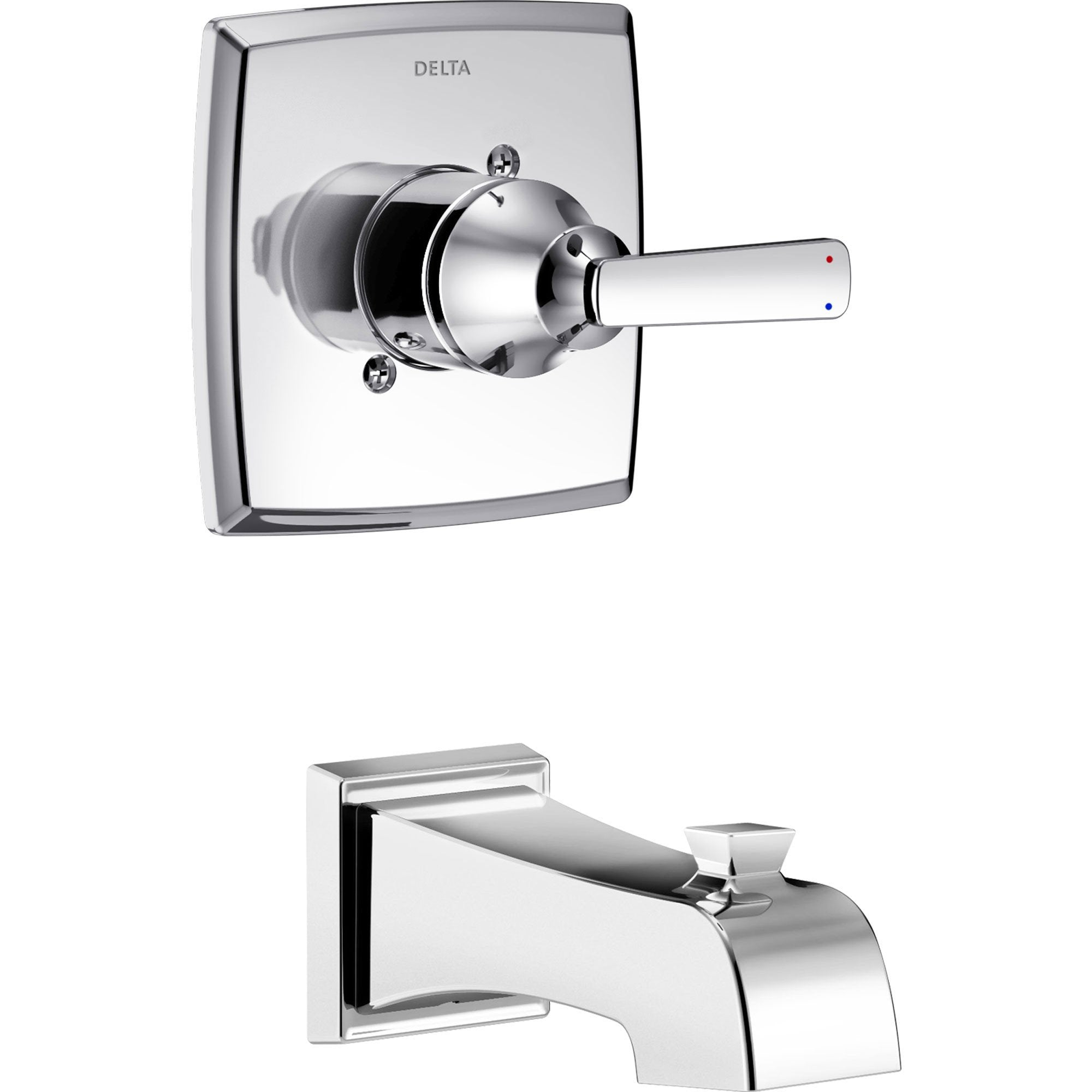Delta Ashlyn Modern 14 Series Chrome Finish Single Handle Wall Mounted Tub Only Faucet INCLUDES Rough-in Valve with Stops D1241V