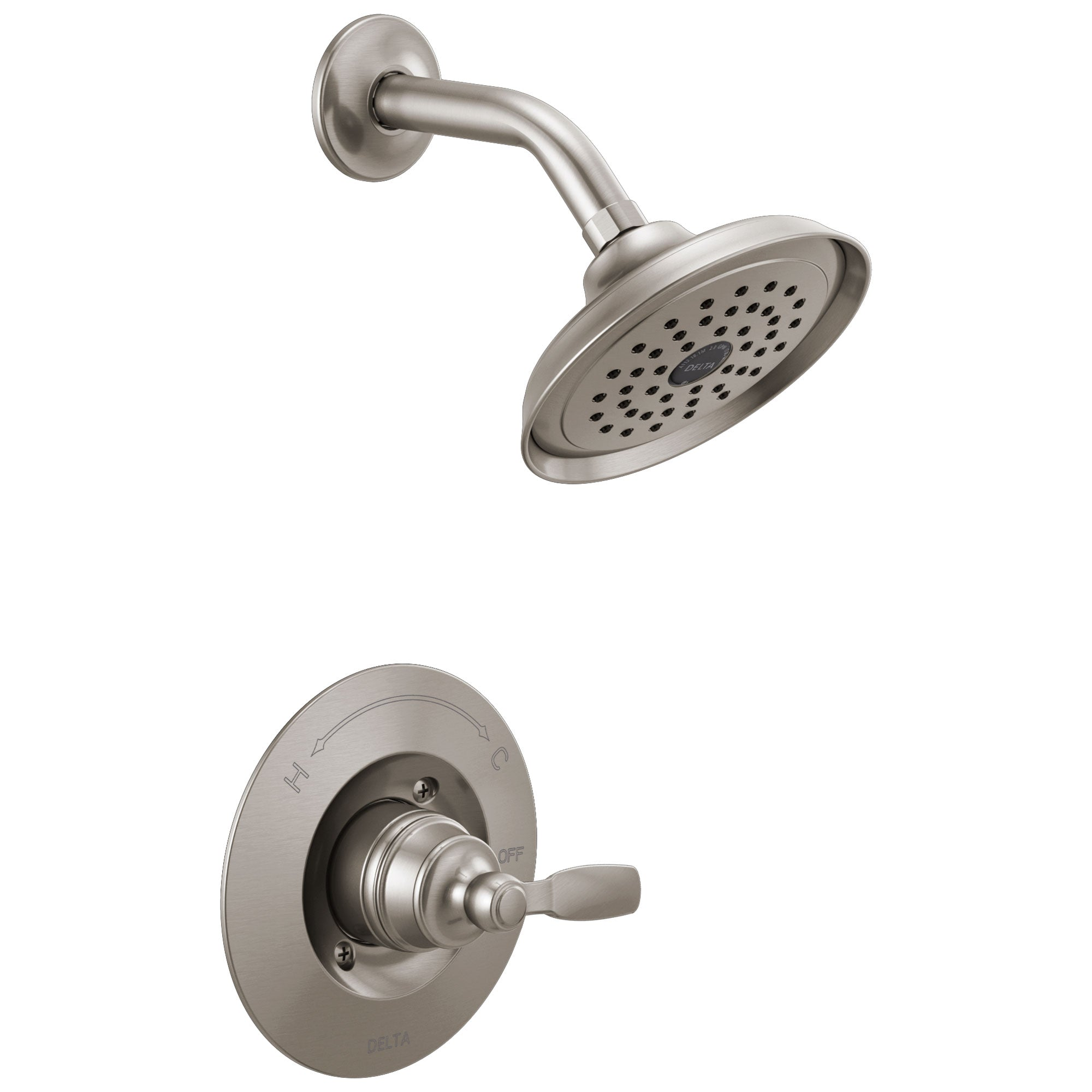 Delta Woodhurst Stainless Steel Finish Shower only Faucet Includes Single Lever Handle, Cartridge, and Valve with Stops D3518V