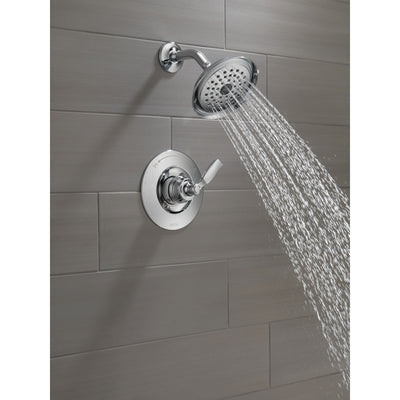 Delta Woodhurst Chrome Finish Shower only Faucet Includes Single Lever Handle, Cartridge, and Valve with Stops D3522V