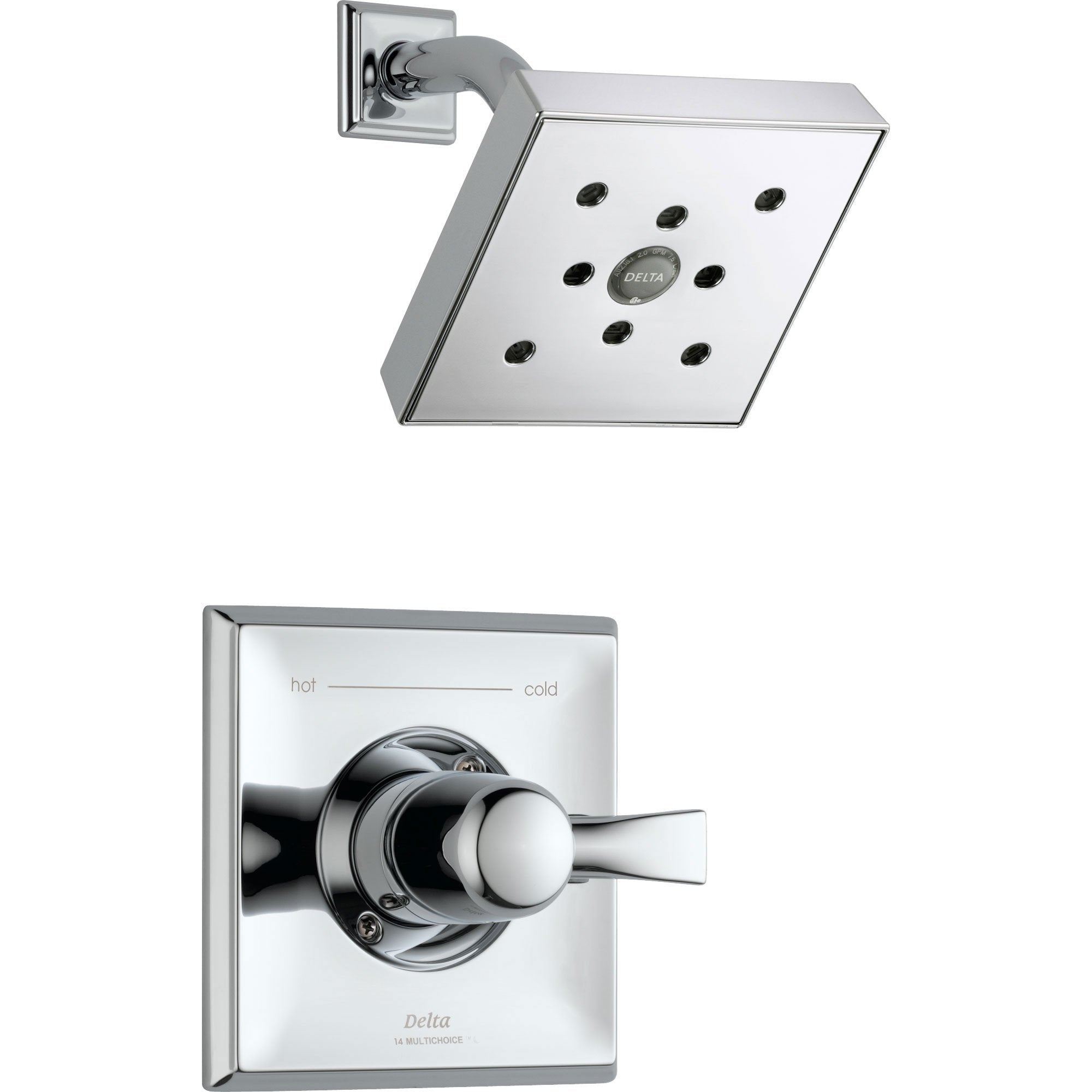 Delta Dryden Chrome Large Modern Square Shower Only Faucet Includes Valve D631V
