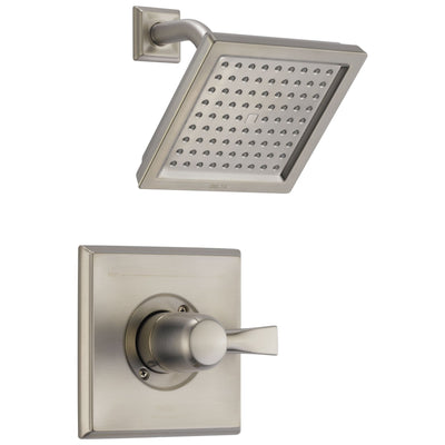 Delta Dryden Collection Stainless Steel Finish Monitor 14 Series 2.5 GPM Square Shower only Faucet Includes Rough-in Valve without Stops D2471V
