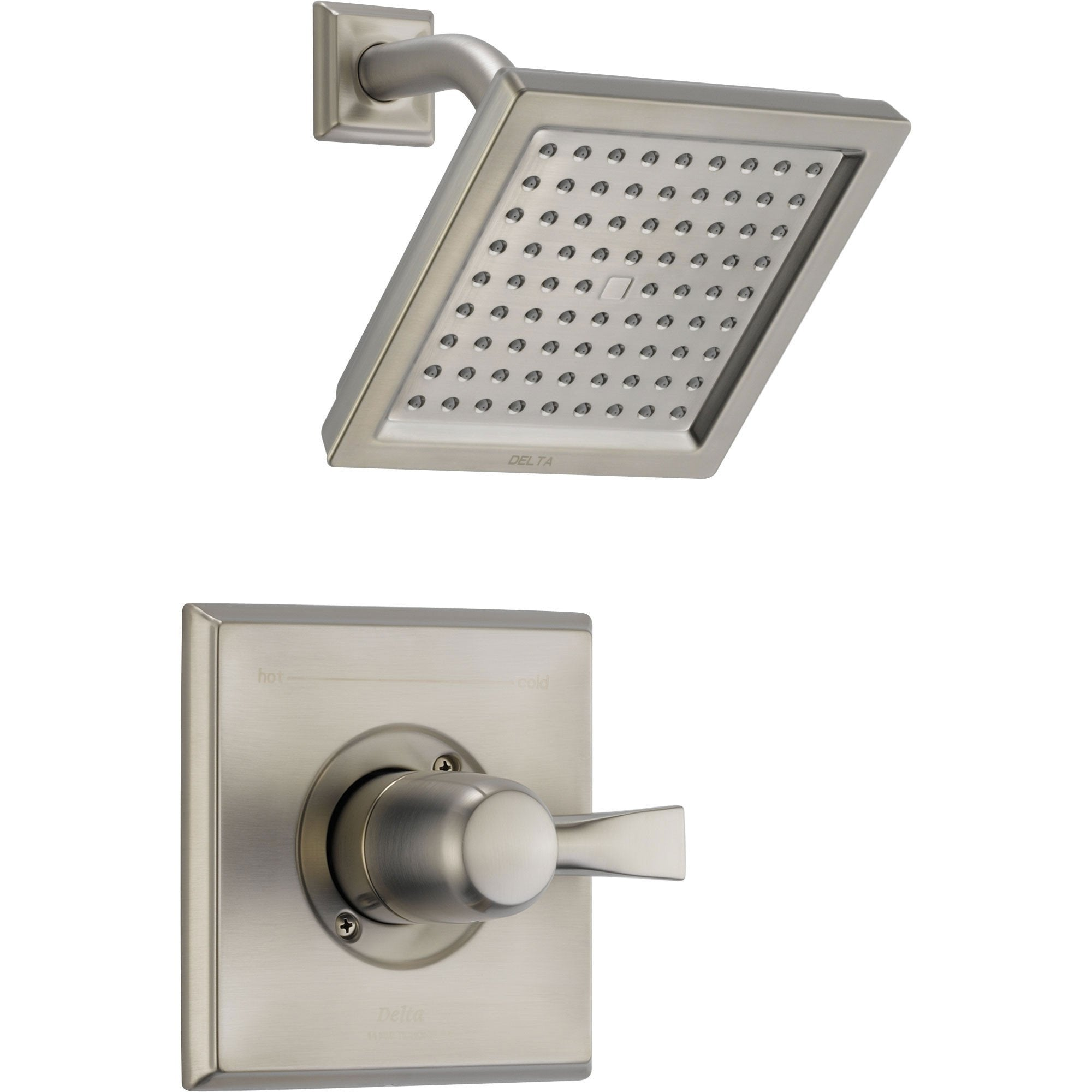 Delta Dryden Stainless Steel Finish Square Shower Only Faucet with Valve D575V