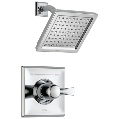 Delta Dryden Collection Chrome Finish Monitor 14 Series Water Efficient 1.75 GPM Square Shower only Faucet Includes Rough-in Valve with Stops D2466V