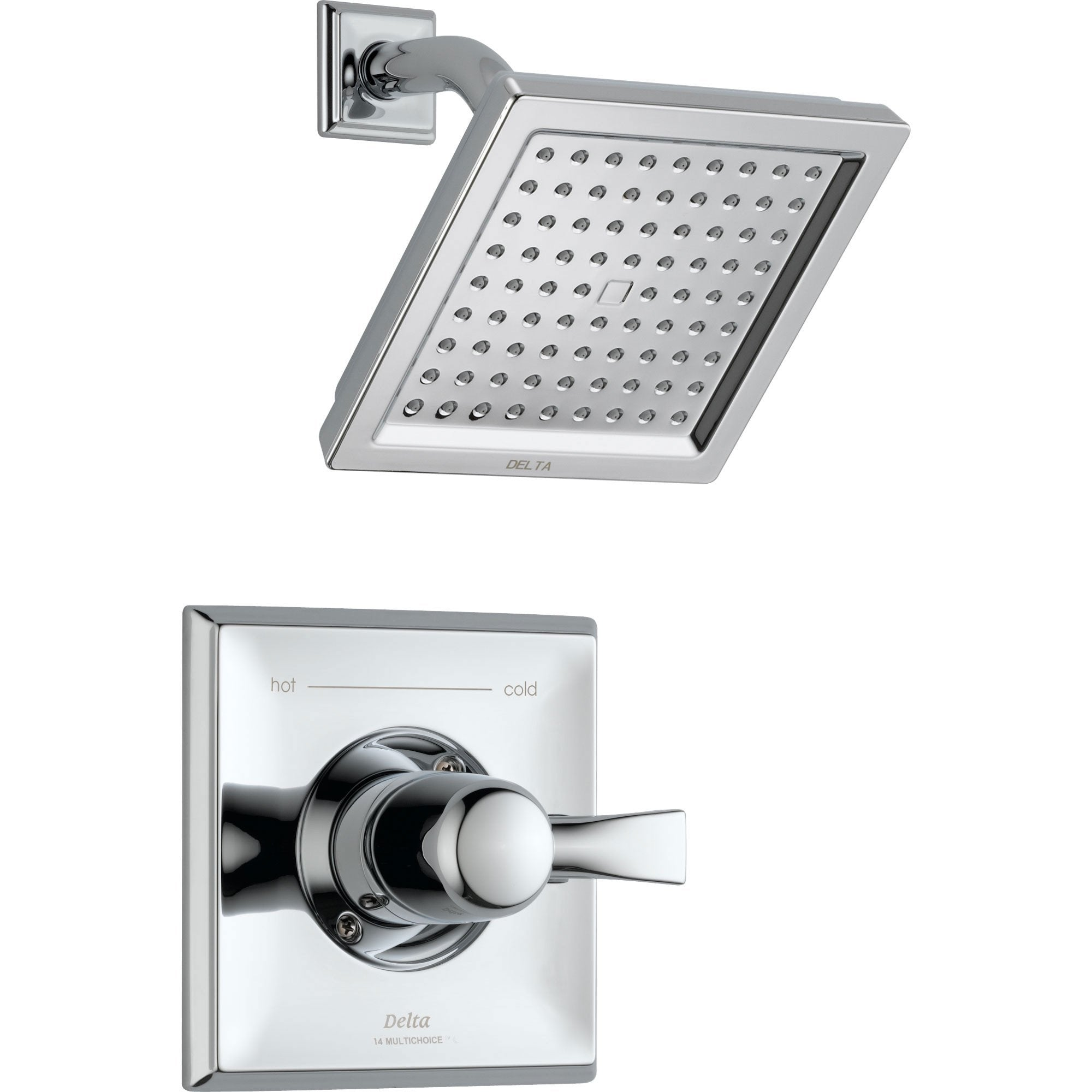 Delta Dryden Chrome Large Modern Square Shower Only Faucet