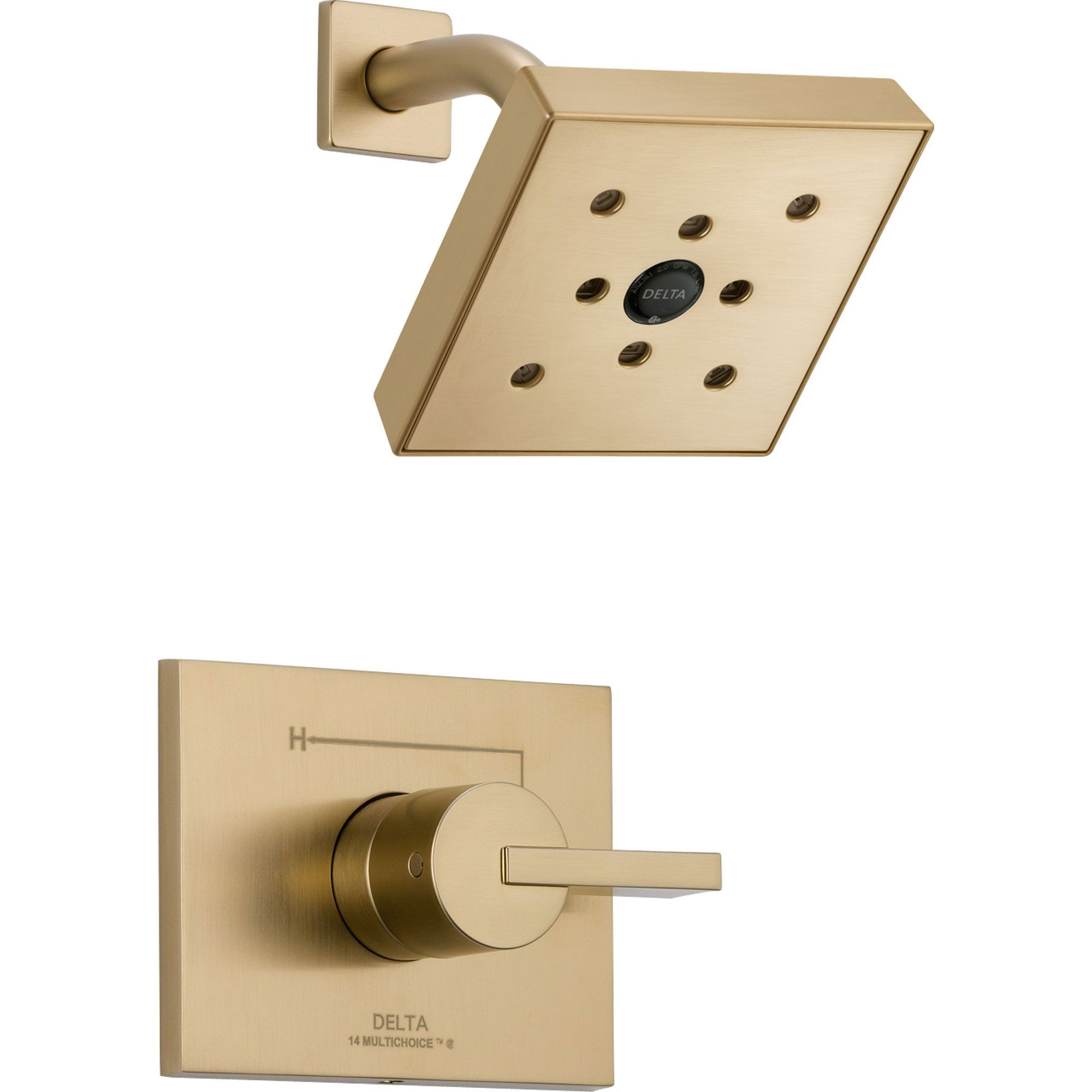Delta Vero Champagne Bronze Modern Square Shower Only Faucet with Valve D638V