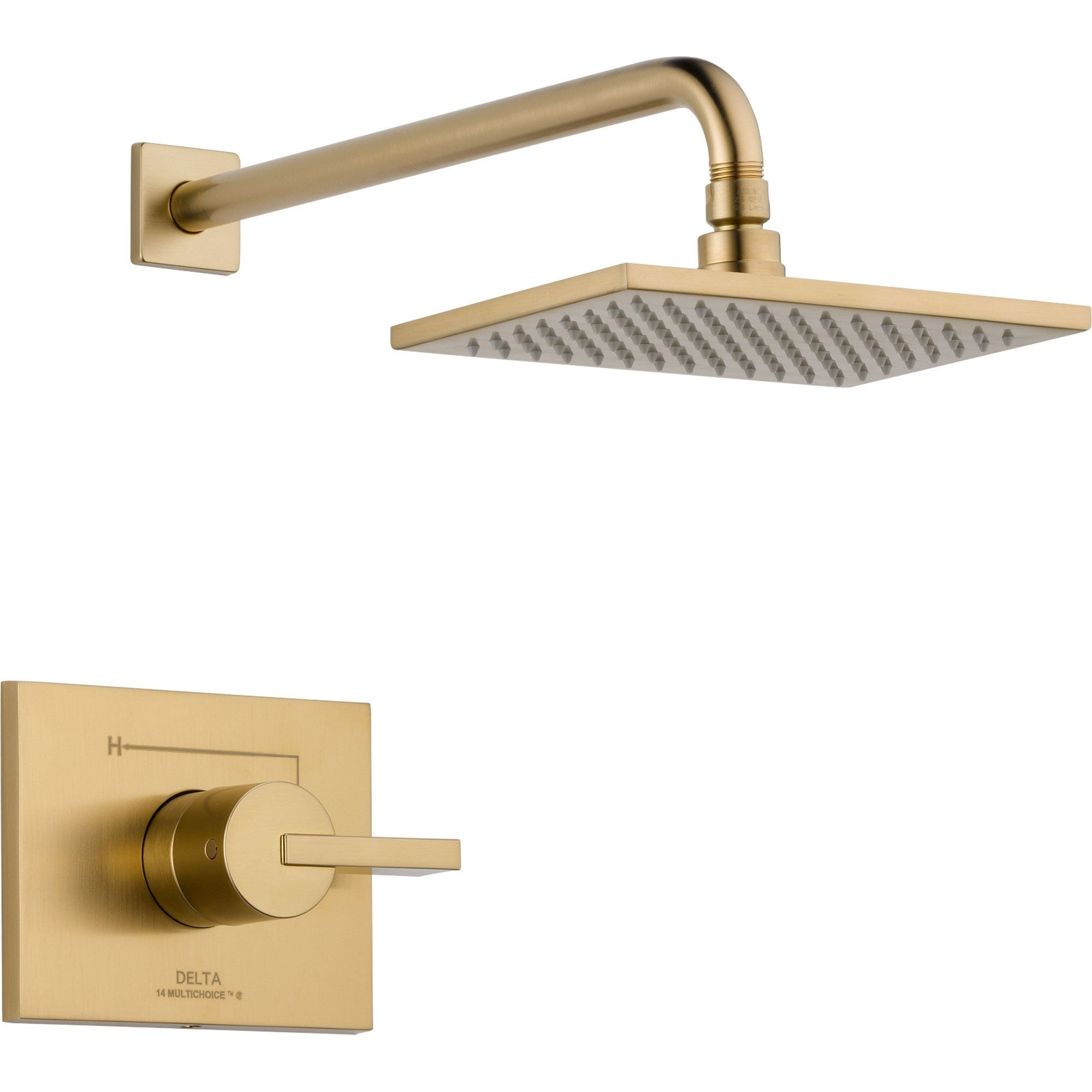Delta Vero Champagne Bronze Modern Square Shower Only Faucet with Valve D637V