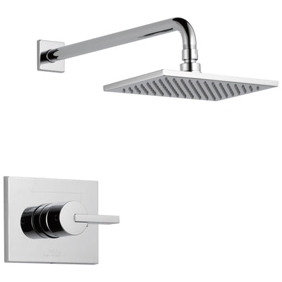Delta Vero Collection Chrome Monitor 14 Modern Shower only Faucet Trim Kit with 1.75 GPM Water Efficient Overhead Showerhead Includes Valve without Stops D2457V