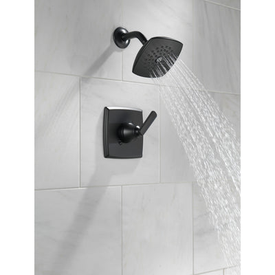Delta Ashlyn Matte Black Finish Monitor 14 Series Shower only Faucet Includes Single Lever Handle, Cartridge, and Rough Valve with Stops D3506V