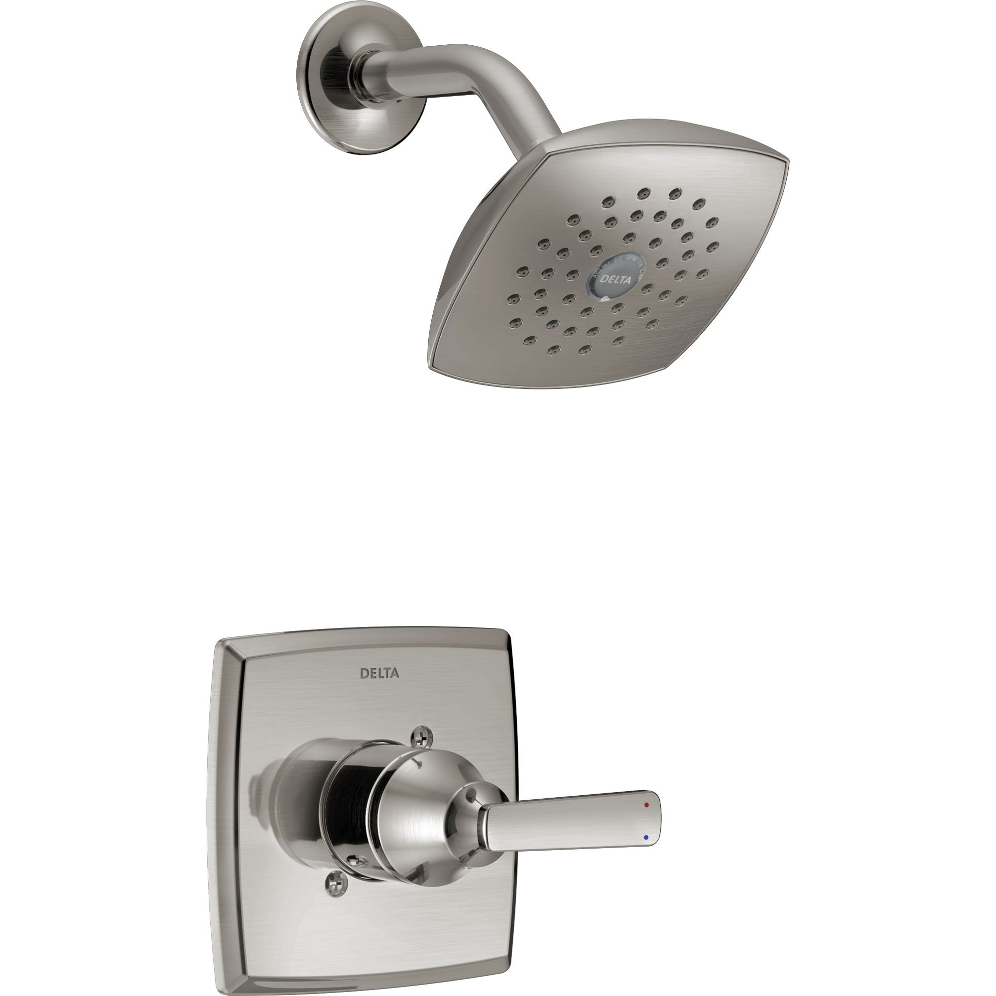 Delta Ashlyn Modern 14 Series Watersense Stainless Steel Finish Single Handle Shower Only Faucet INCLUDES Rough-in Valve D1230V