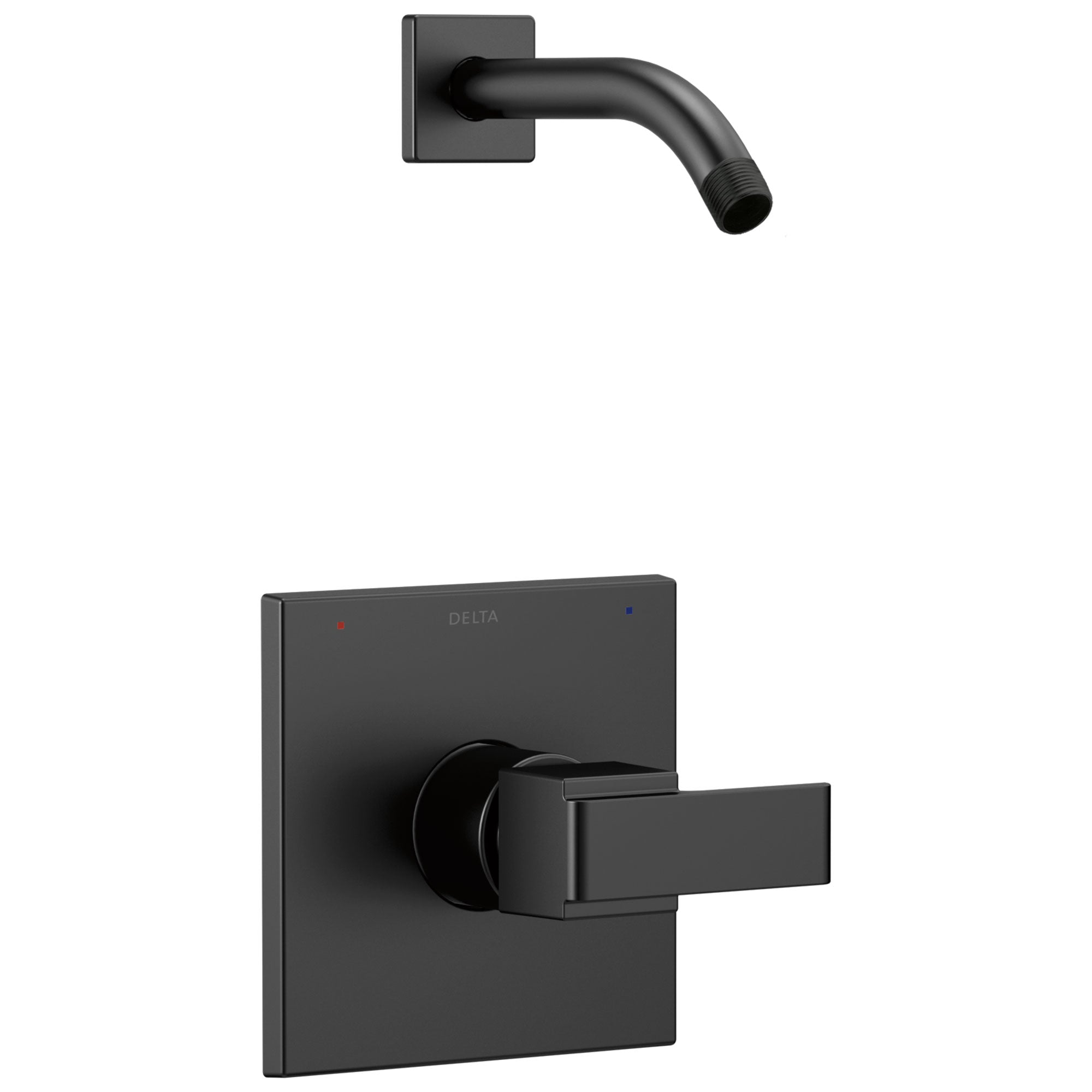 Delta Ara Collection Matte Black Finish Monitor 14 Modern Square Plate Single Handle Shower only Trim - Less Showerhead (Requires Valve) DT14267BLLHD