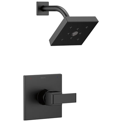 Delta Ara Collection Matte Black Finish Monitor 14 Square Showerhead and Modern Single Handle Control Includes Rough-in Valve with Stops D2440V