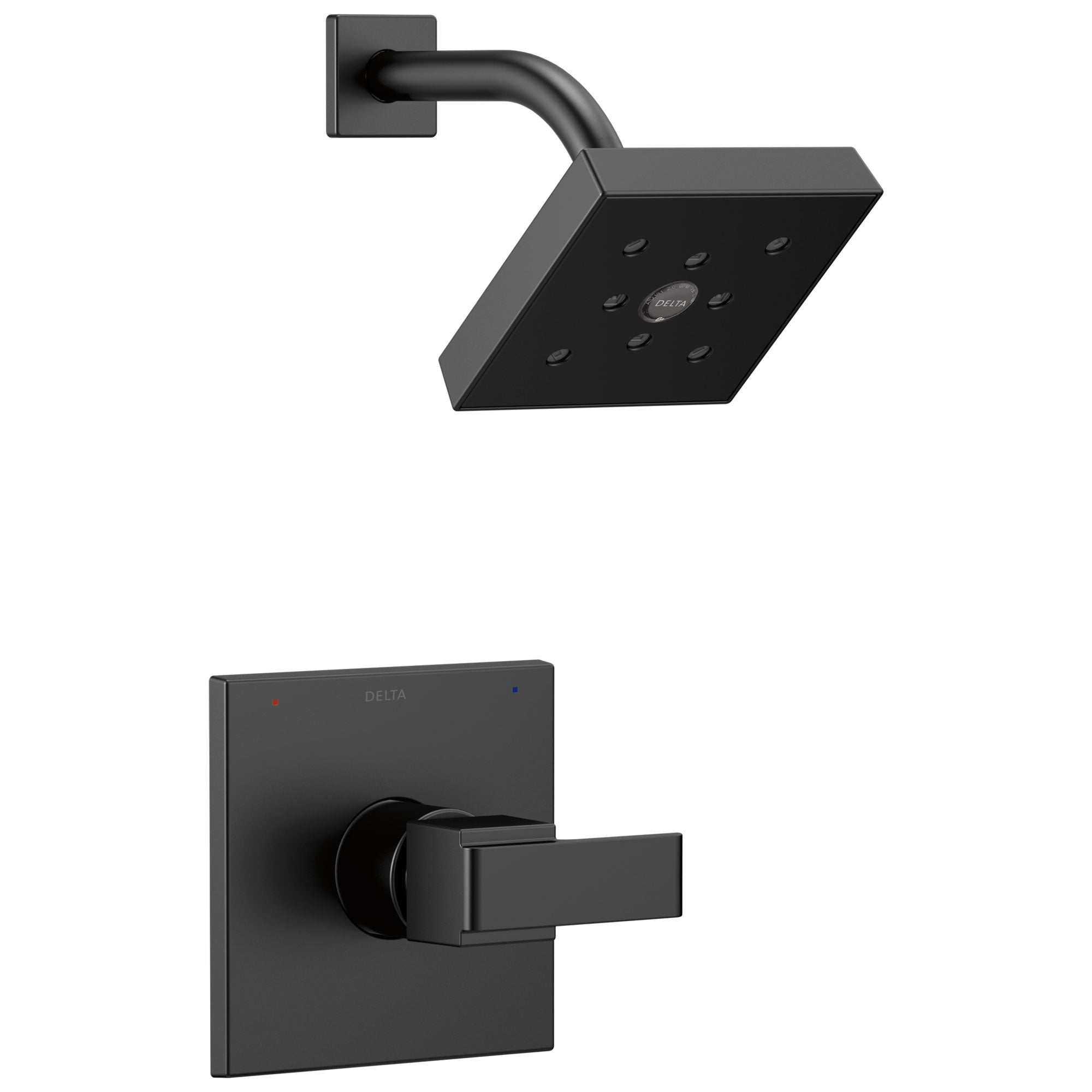 Delta Ara Collection Matte Black Finish Monitor 14 Square Showerhead and Modern Single Handle Control Includes Rough-in Valve without Stops D2439V