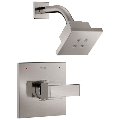 Delta Ara Collection Stainless Steel Finish Modern Single Handle Square Monitor 14 Shower only Faucet Includes Rough-in Valve with Stops D2033V