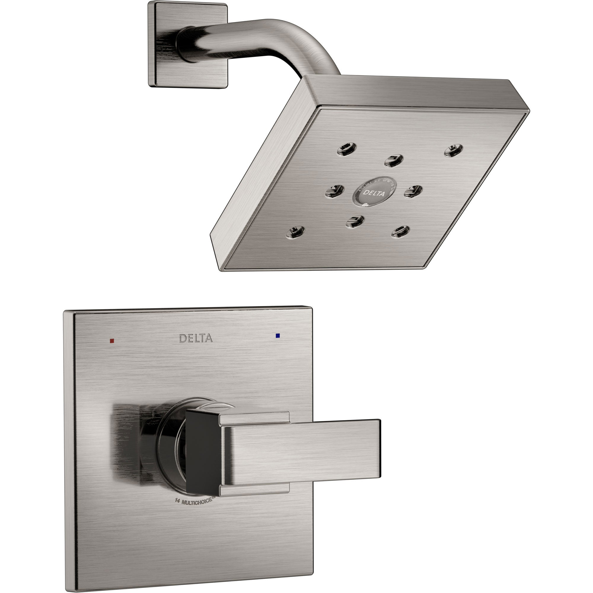 Delta Ara Modern Square 14 Series Single Handle Stainless Steel Finish Shower Only Faucet INCLUDES Rough-in Valve with Stops D1227V