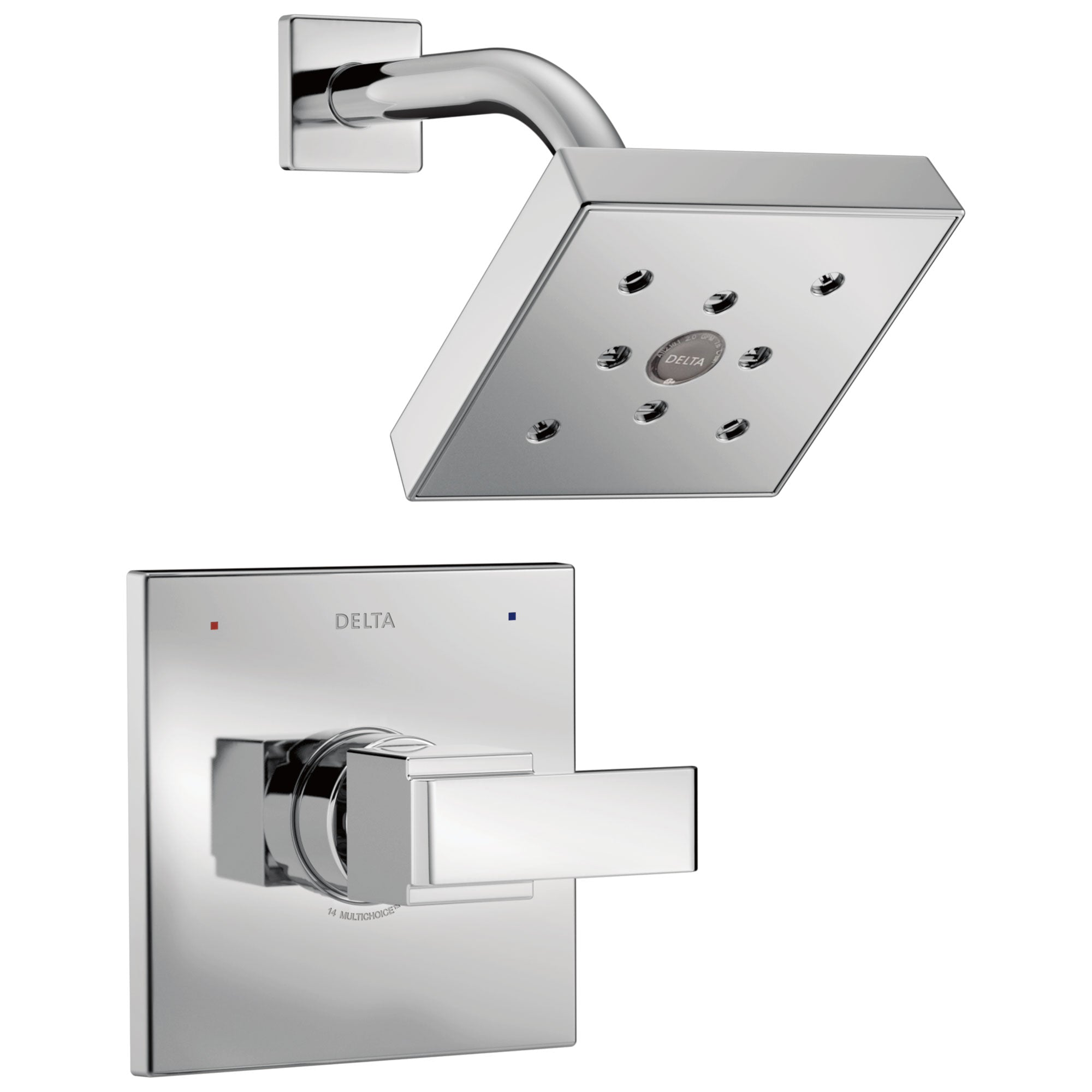 Delta Ara Collection Chrome Monitor 14 Series H2Okinetic Square Showerhead and Modern Single Handle Control Includes Rough-in Valve without Stops D2441V