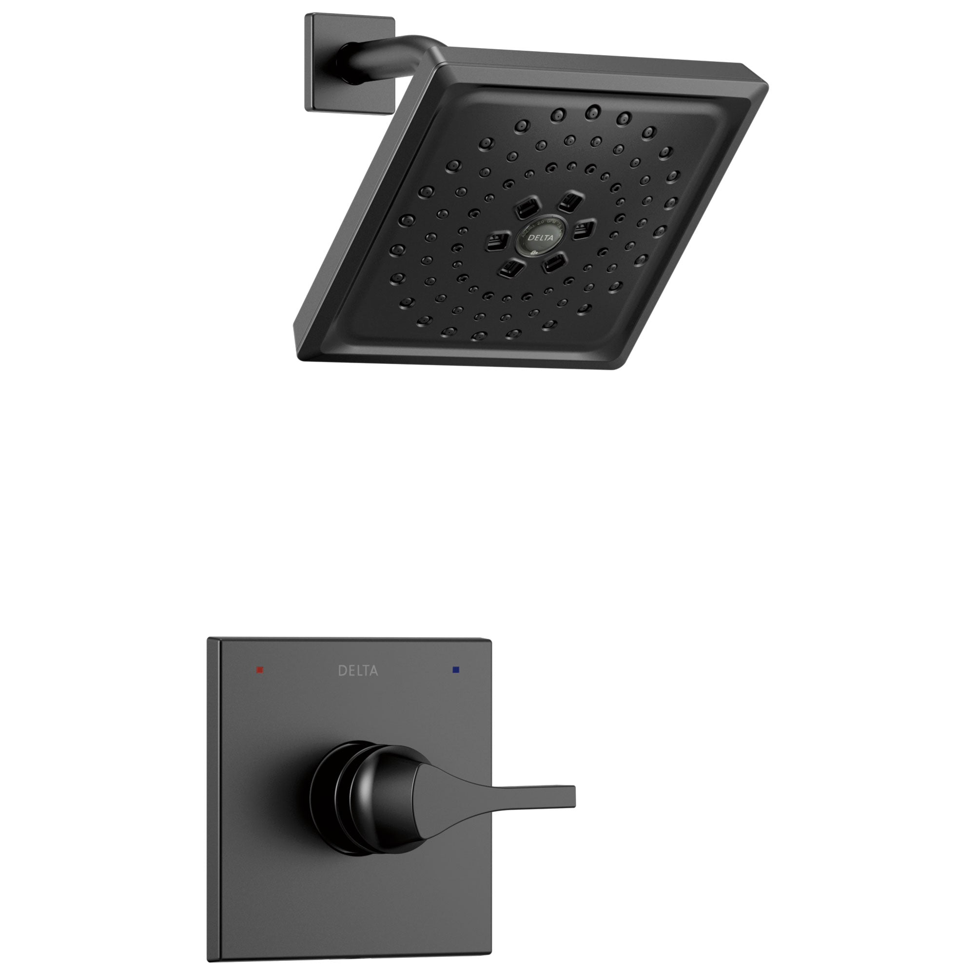 Delta Zura Matte Black Finish Monitor 14 Series H2Okinetic Shower only Faucet Includes Handle, Cartridge, and Valve without Stops D3640V