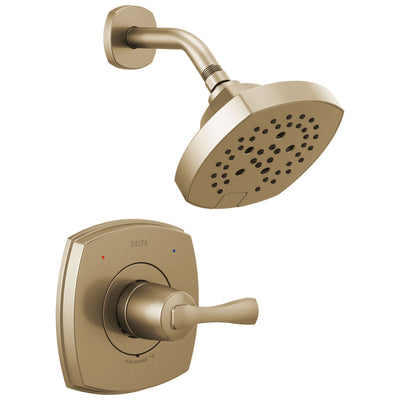 Delta Stryke Champagne Bronze Finish 14 Series Shower Only Faucet Includes Single Lever Handle, Cartridge, and Rough-in Valve without Stops D3489V