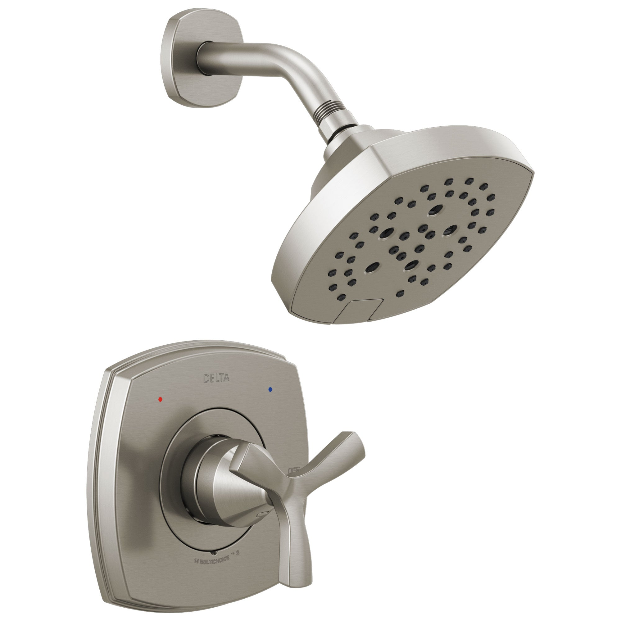Delta Stryke Stainless Steel Finish 14 Series Shower Only Faucet Includes Helo Cross Handle, Cartridge, and Rough-in Valve without Stops D3493V