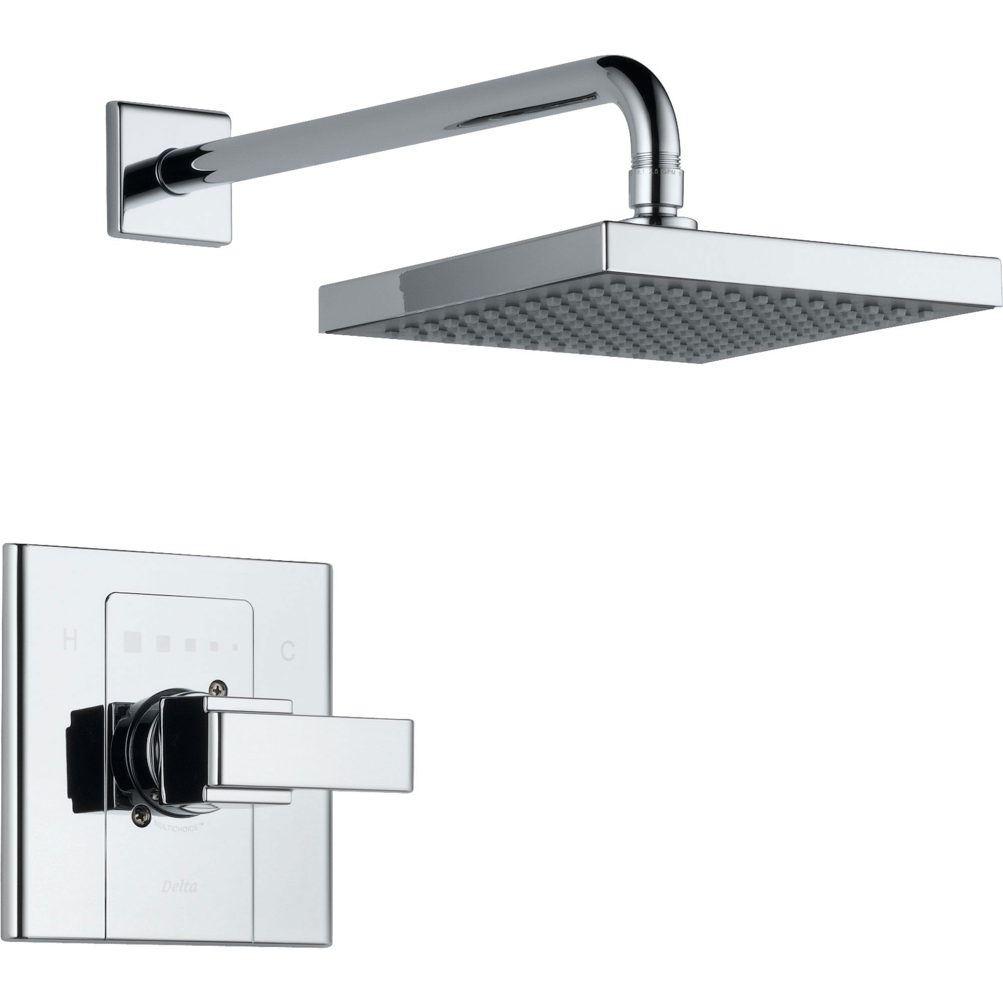 Delta Arzo Chrome Large Modern Square Shower Only Faucet Includes Valve D593V