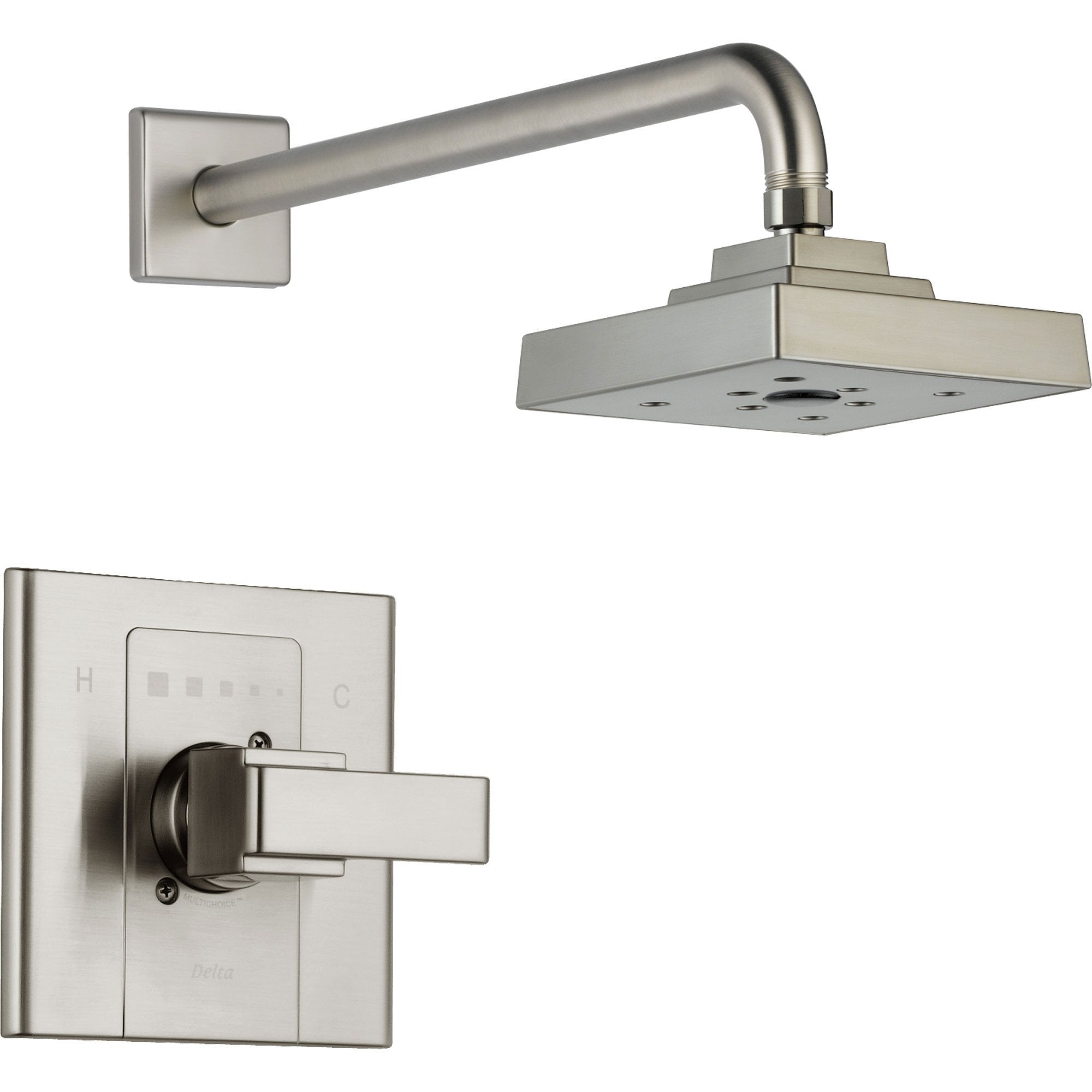 Delta Arzo Stainless Steel Finish Modern Square Shower Faucet with Valve D594V