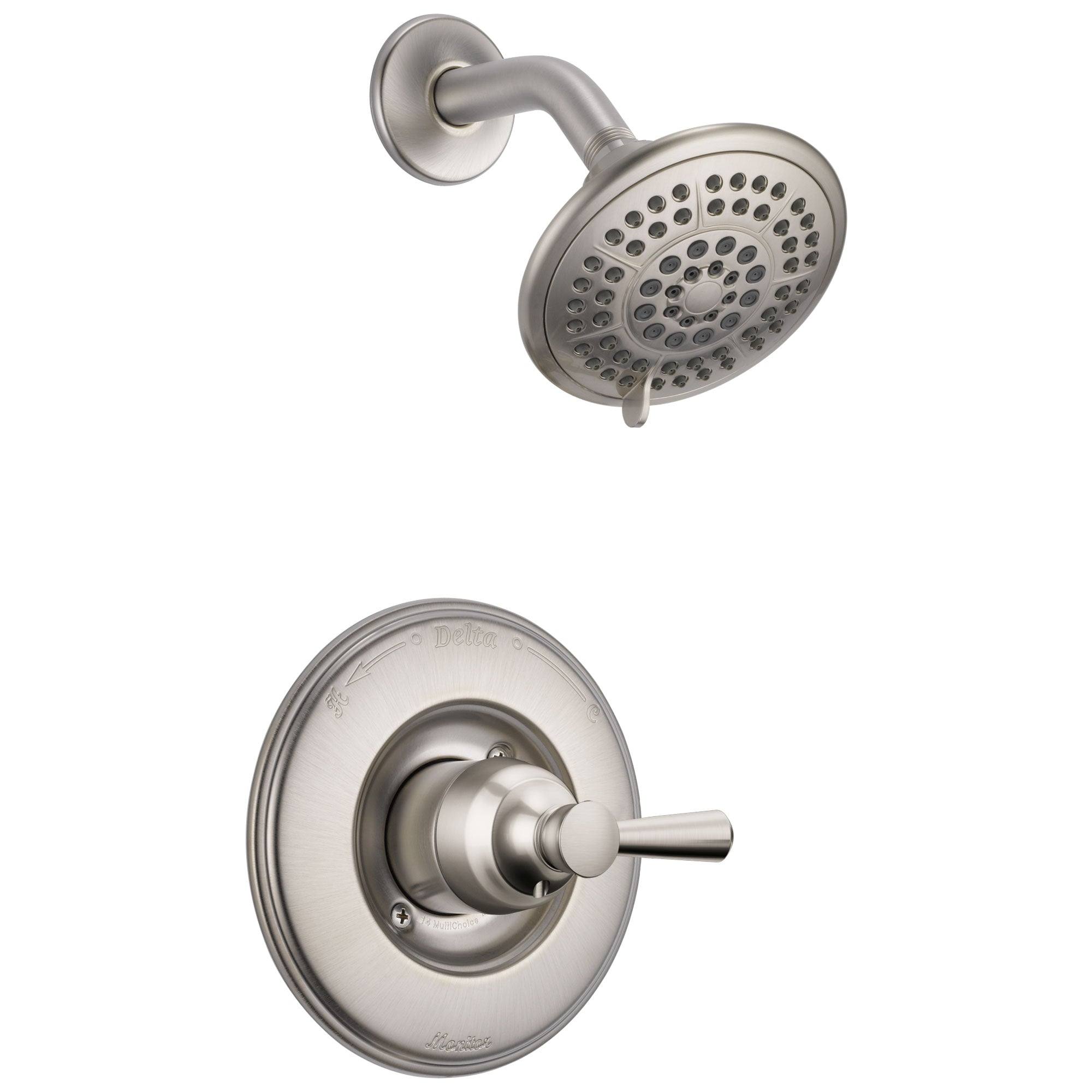 Delta Linden Collection Stainless Steel Finish Monitor 14 Contemporary Style Single Lever Shower only Faucet Includes Rough-in Valve with Stops D2428V