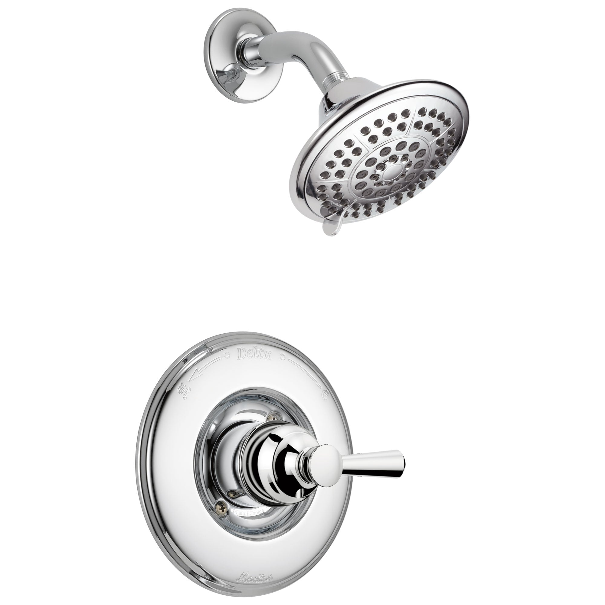 Delta Linden Collection Chrome Monitor 14 Series Contemporary Style Single Lever Handle Shower only Faucet Includes Rough-in Valve with Stops D2432V