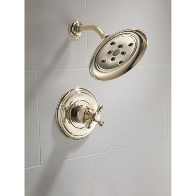 Delta Cassidy Collection Polished Nickel Monitor 14 H2Okinetic Shower only Faucet INCLUDES Single Cross Handle and Rough-Valve without Stops D1539V