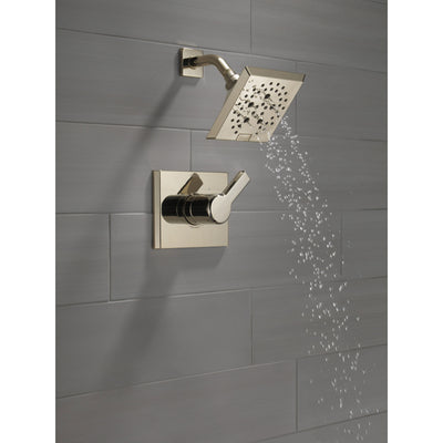 Delta Pivotal Polished Nickel Finish Monitor 14 Series Shower only Faucet Includes Single Lever Handle, Cartridge, and Valve with Stops D3476V