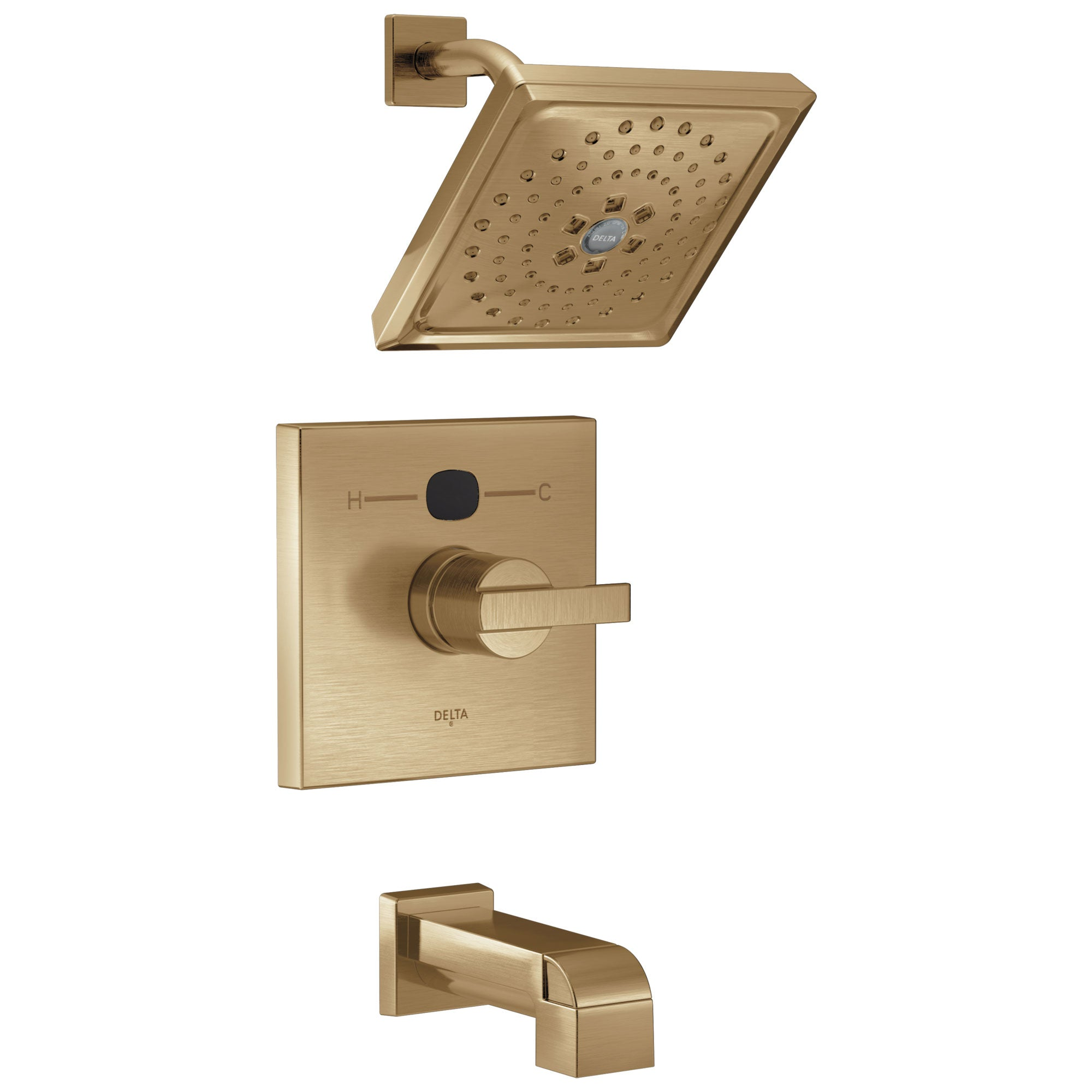 Delta Champagne Bronze Modern 14 Series Digital Display Temp2O One Handle Tub and Shower Combination Faucet Trim (Valve Sold Separately) 667567