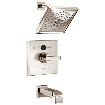 Delta Polished Nickel Ara Angular Modern 14 Series Digital Display Temp2O One Handle Tub and Shower Combination Faucet Includes Rough-in Valve with Stops D2013V