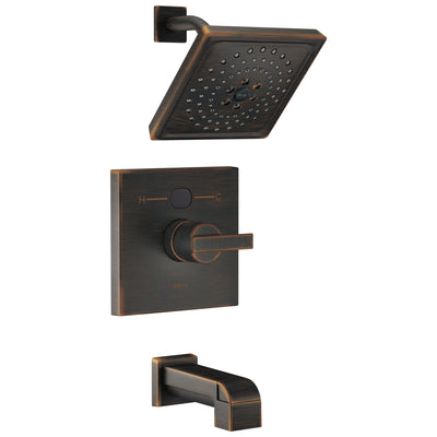Delta Venetian Bronze Ara Angular Modern 14 Series Digital Display Temp2O One Handle Tub and Shower Combination Faucet Includes Rough-in Valve with Stops D2011V