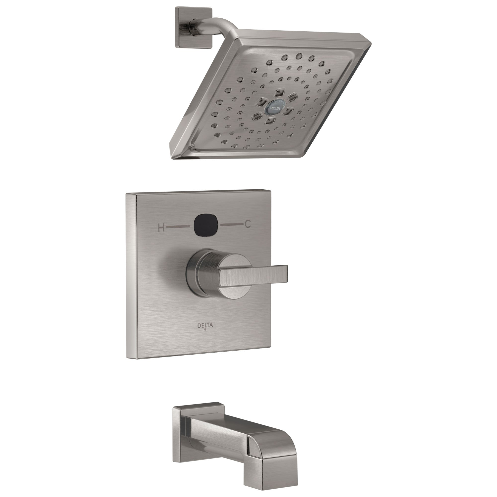 Delta Stainless Steel Finish Ara Modern 14 Series Digital Display Temp2O One Handle Tub and Shower Combination Faucet Includes Valve without Stops D2008V