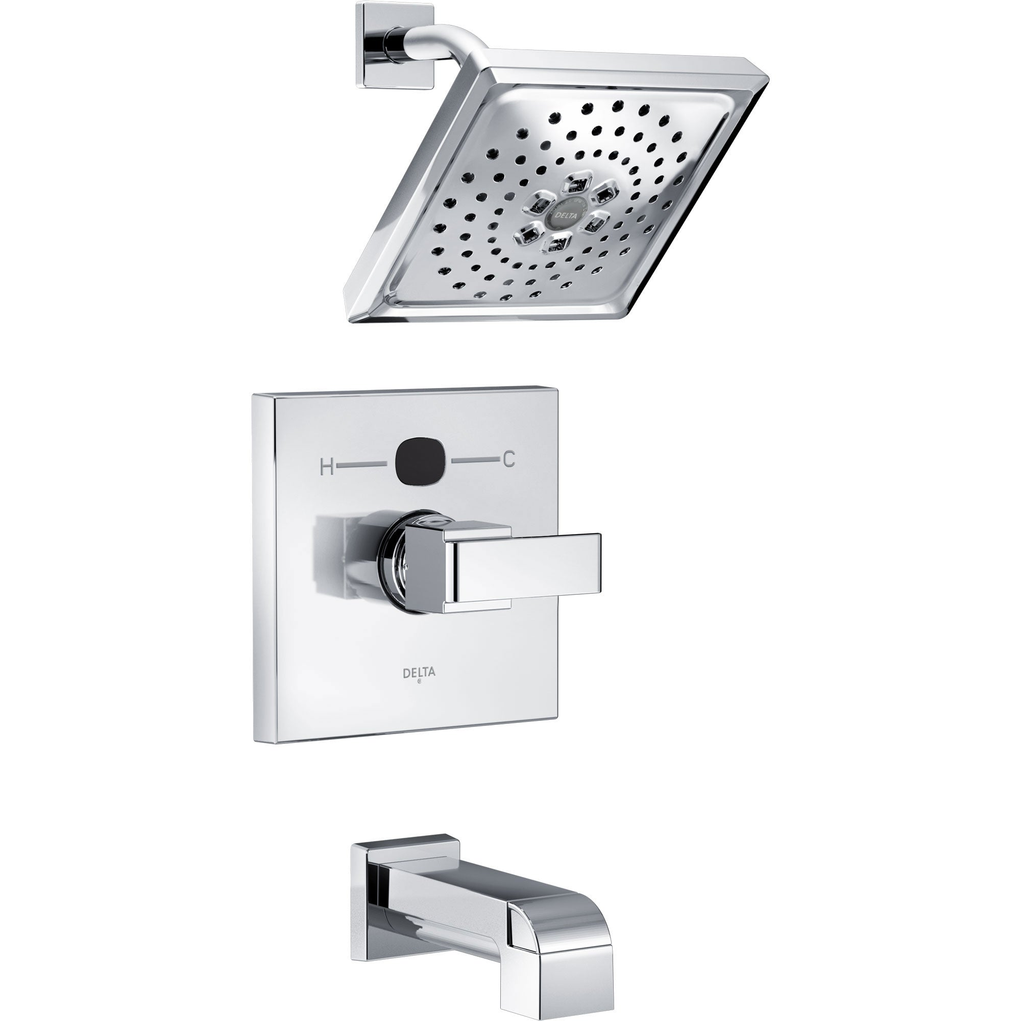 Delta Ara Chrome Finish Angular Modern Square Temp2O Tub and Shower Combination Faucet with Digital Display INCLUDES Rough-in Valve with Stops D1217V