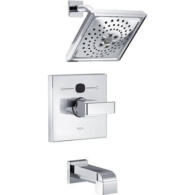 Delta Ara Chrome Finish Angular Modern Square Temp2O Tub and Shower Combination Faucet with Digital Display INCLUDES Rough-in Valve D1216V
