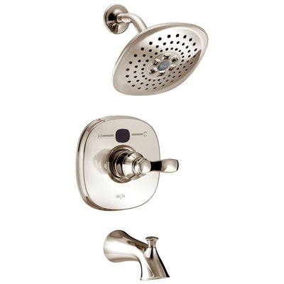 Delta Polished Nickel Transitional One Handle 14 Series Digital Display Temp2O Tub and Shower Combination Faucet Includes Rough-in Valve with Stops D2005V
