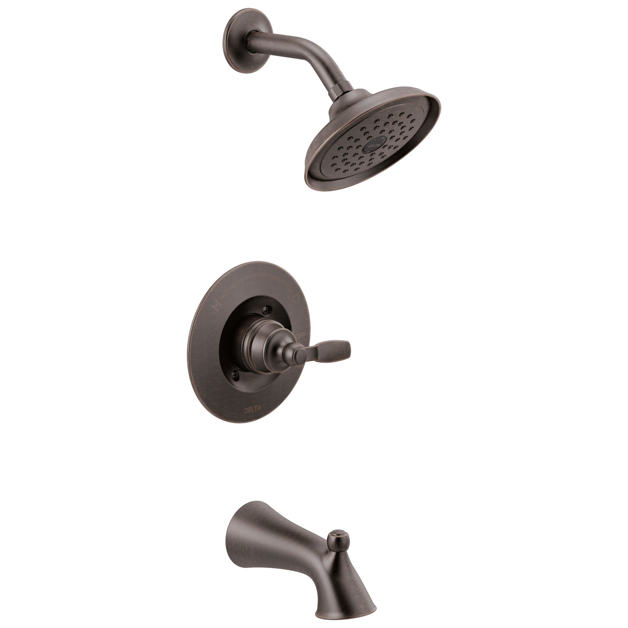 Delta Woodhurst Venetian Bronze Finish Single Lever Handle Tub/Shower Combination Faucet Includes Cartridge, and Valve with Stops D3468V