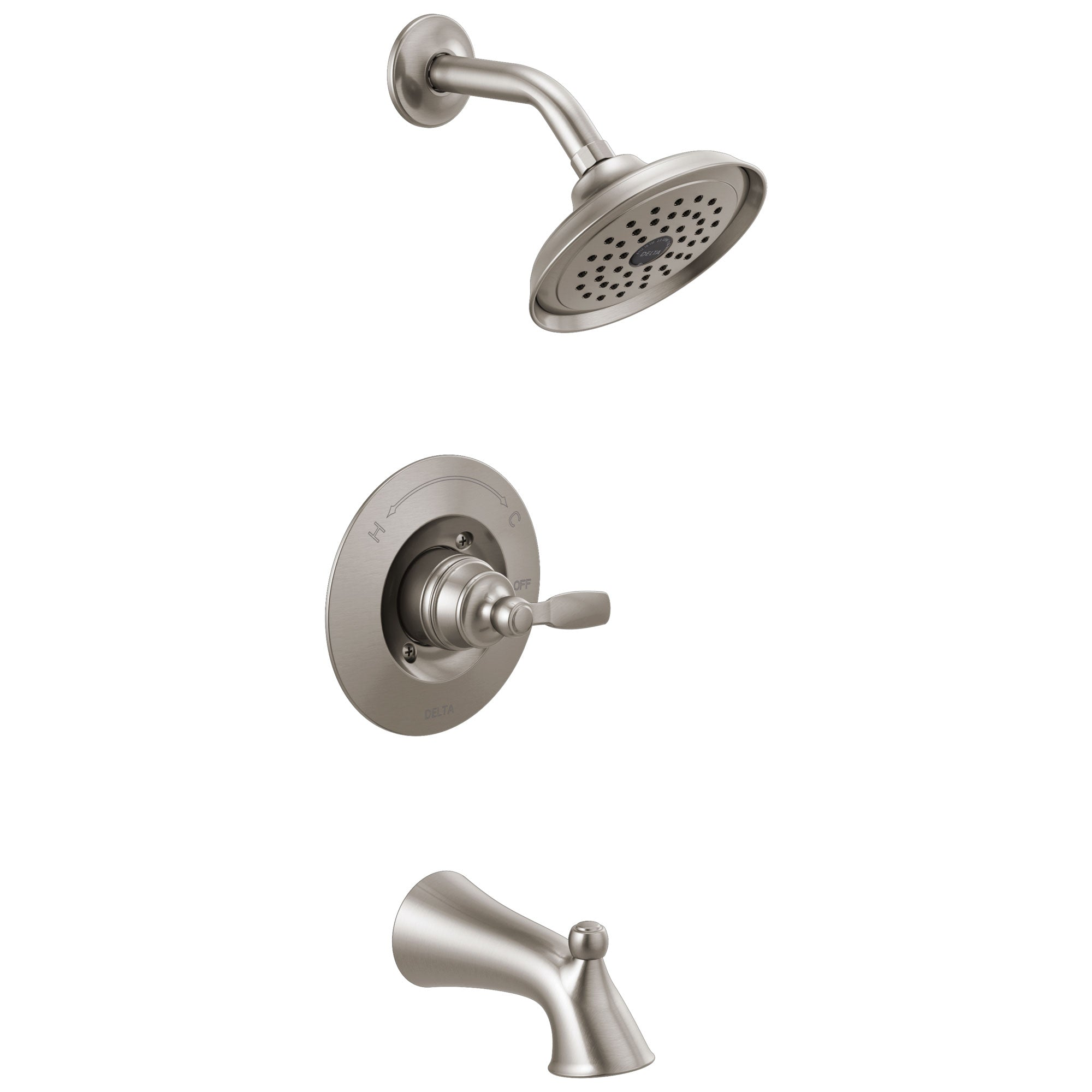 Delta Woodhurst Stainless Steel Finish Single Lever Handle Tub/Shower Combination Faucet Includes Cartridge, and Valve with Stops D3466V