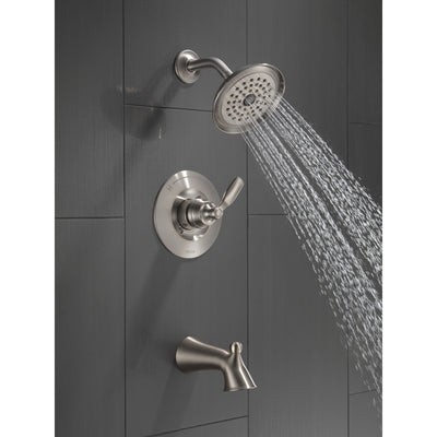 Delta Woodhurst Stainless Steel Finish Single Lever Handle Tub/Shower Combination Faucet Includes Cartridge, and Valve without Stops D3465V
