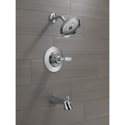 Delta Woodhurst Chrome Finish Single Lever Handle Tub/Shower Combination Faucet Includes Cartridge, and Valve with Stops D3470V