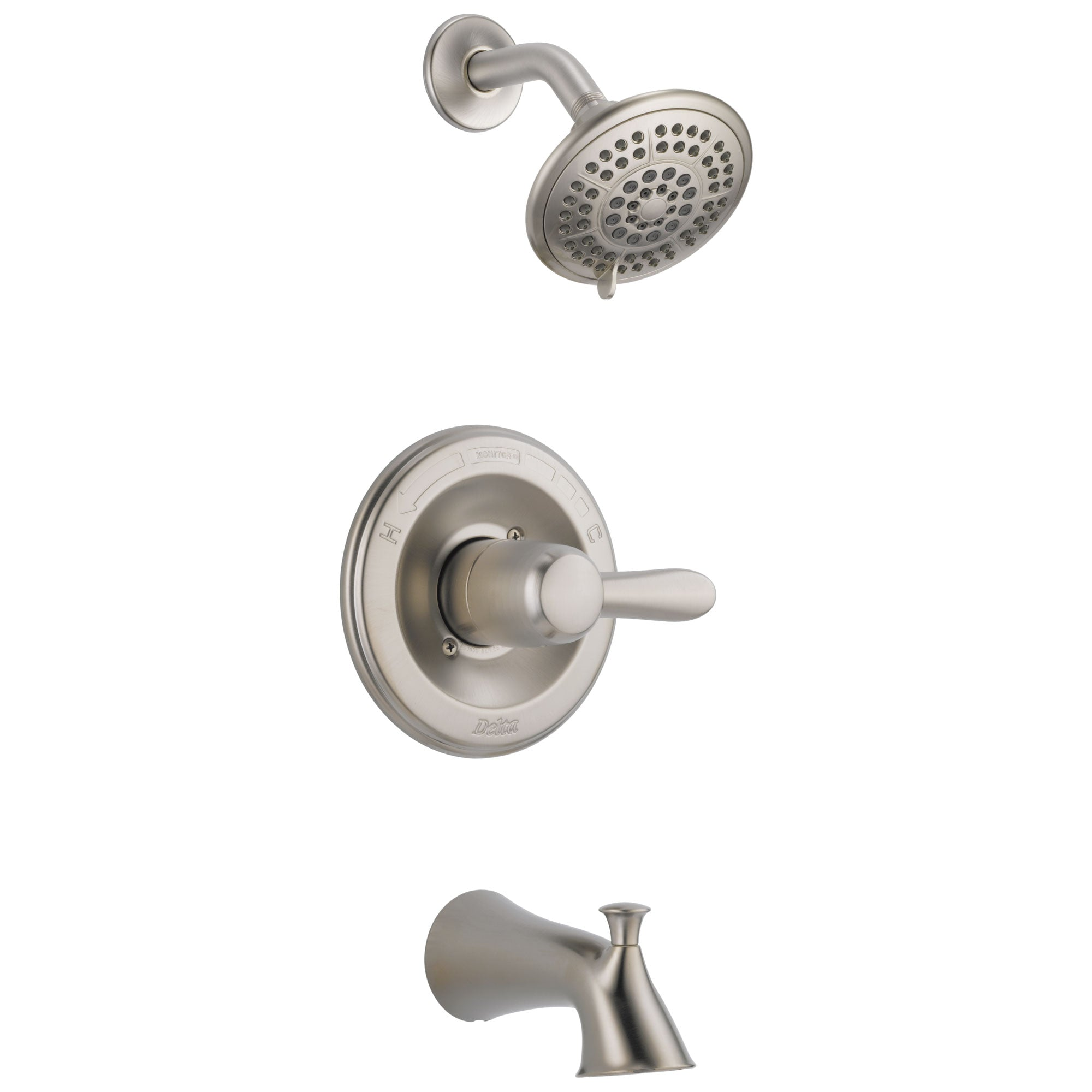 Delta Lahara Stainless Steel Finish Tub and Shower Combination with Valve D310V