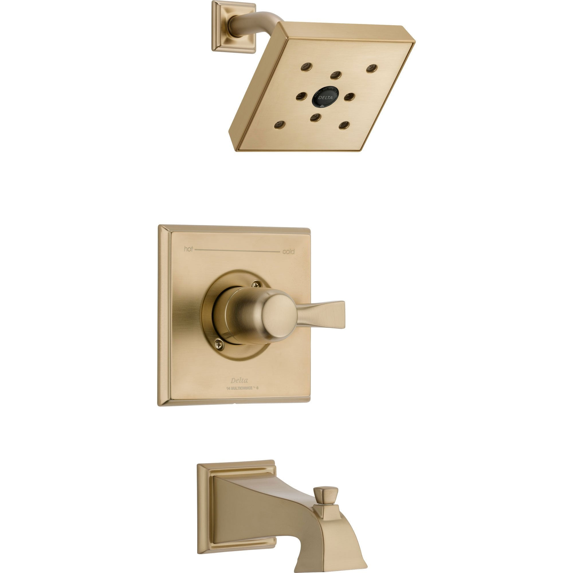 Delta Dryden Modern Square Champagne Bronze Tub and Shower Faucet w/ Valve D314V