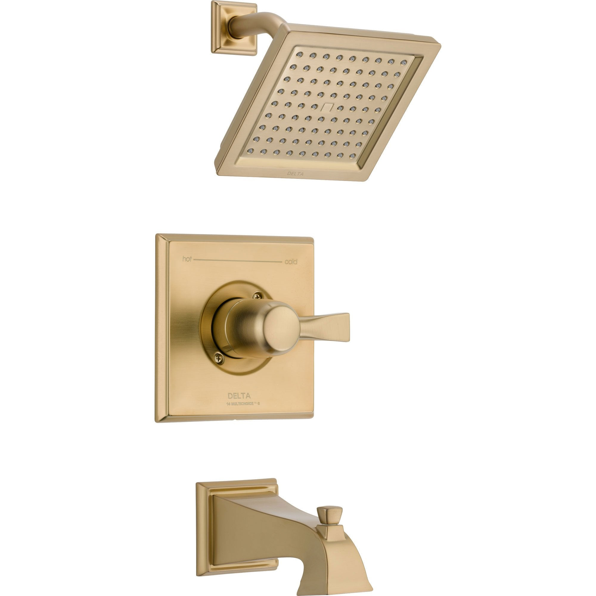 Delta Dryden Modern Square Champagne Bronze Tub and Shower Faucet w/ Valve D313V