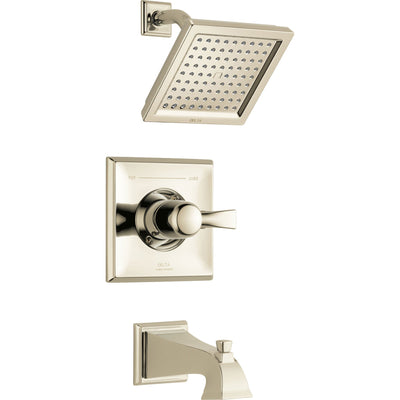 Delta Dryden Modern Square 14 Series Polished Nickel Finish Single Handle Tub and Shower Combination Faucet INCLUDES Rough-in Valve with Stops D1211V
