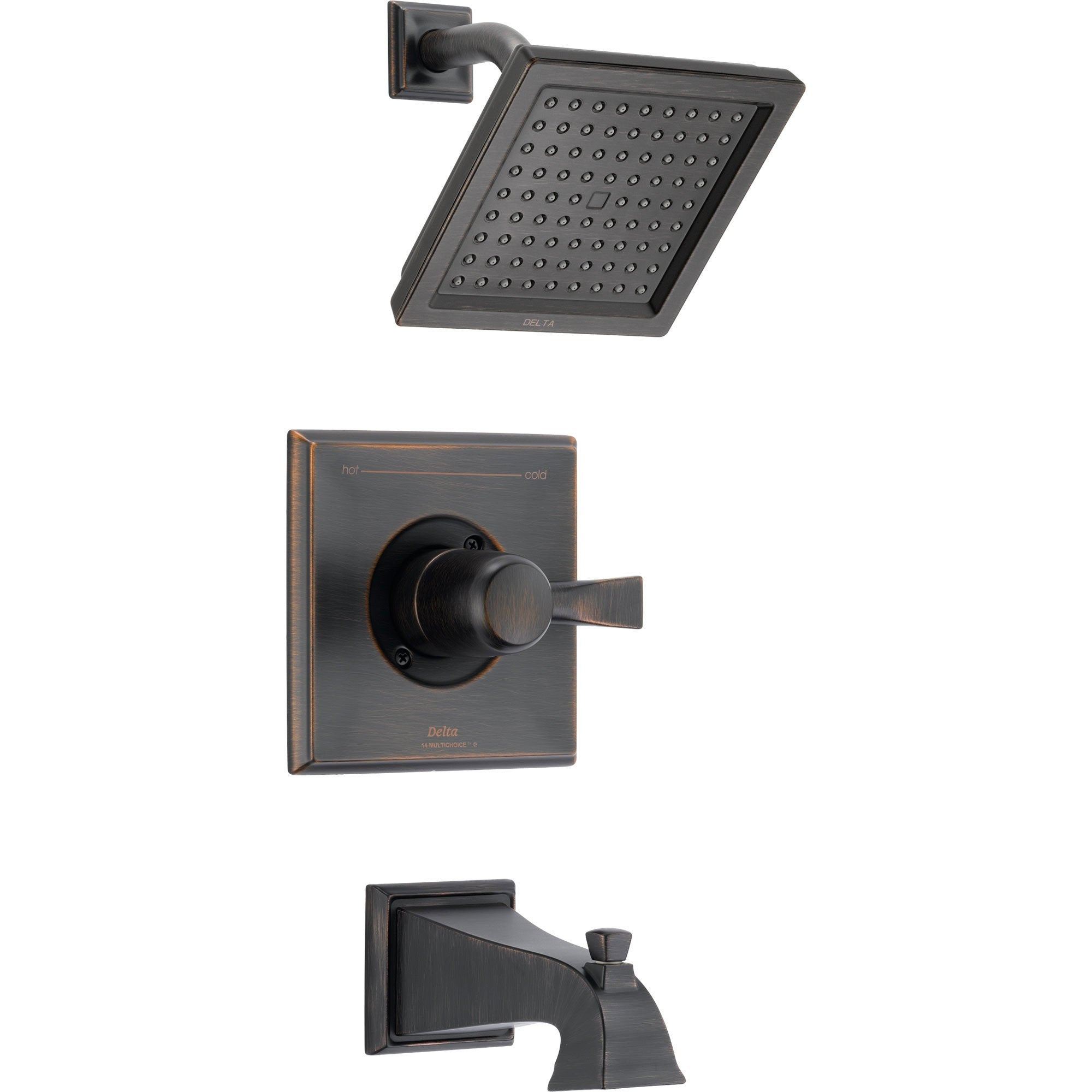 Delta Dryden Modern Square Venetian Bronze Tub and Shower Faucet w/ Valve D316V
