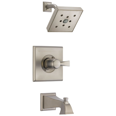 Delta Dryden Collection Stainless Steel Finish Monitor 14 Water Efficient Tub and Shower Combination Faucet Trim Includes Rough-in Valve without Stops D2409V