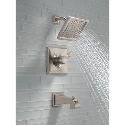 Delta Dryden Modern Square Stainless Steel Finish Tub and Shower Trim Kit 456341