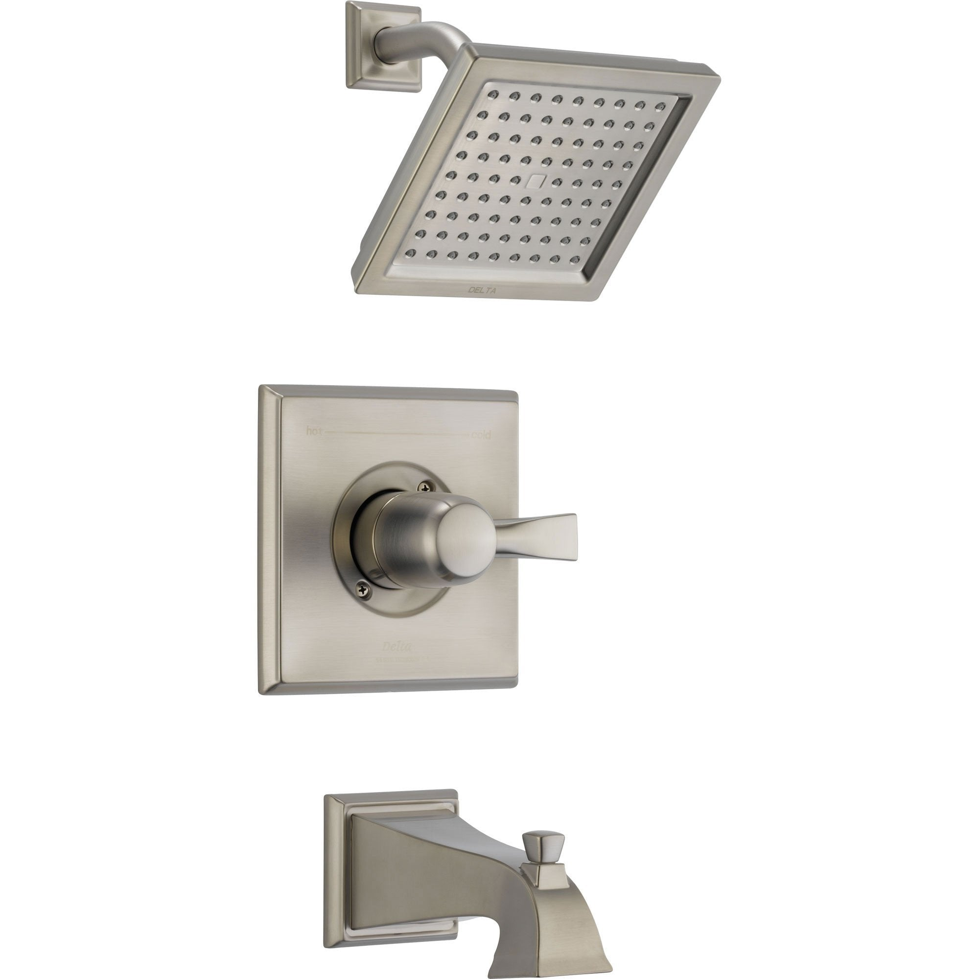 Delta Dryden Modern Square Stainless Steel Finish Tub & Shower with Valve D318V